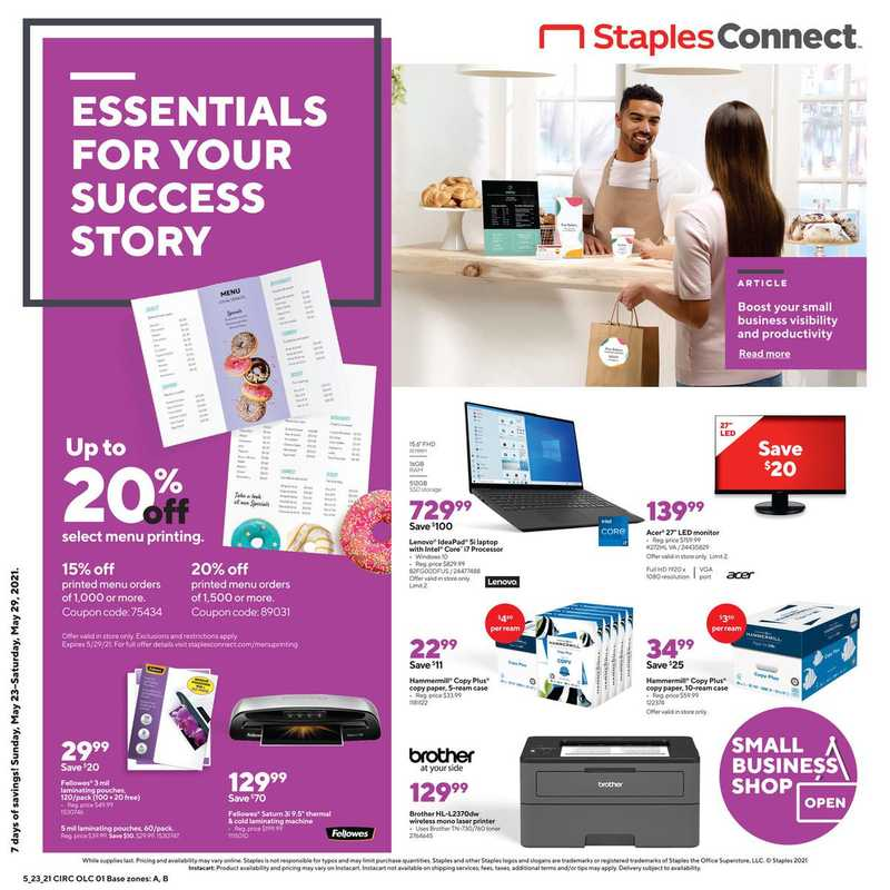 Staples - deals are valid from 05/23/21 to 05/29/21 - page 1.