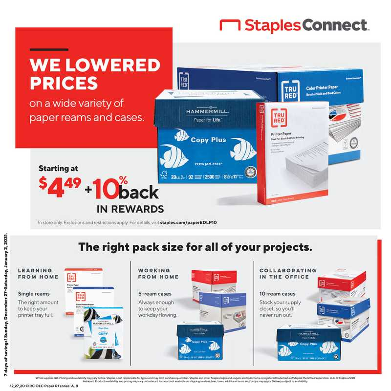 Staples - deals are valid from 12/27/20 to 01/02/21 - page 1.