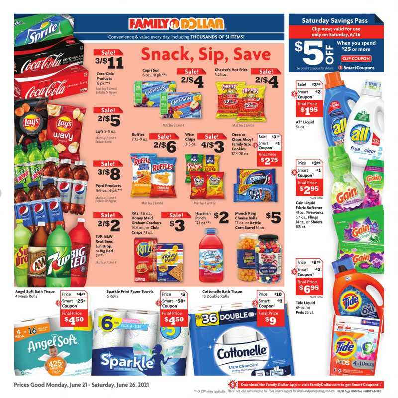 Family Dollar - deals are valid from 06/21/21 to 06/26/21 - page 1.