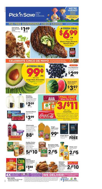 Pick n Save - deals are valid from 04/29/20 to 05/05/20 - page 1.