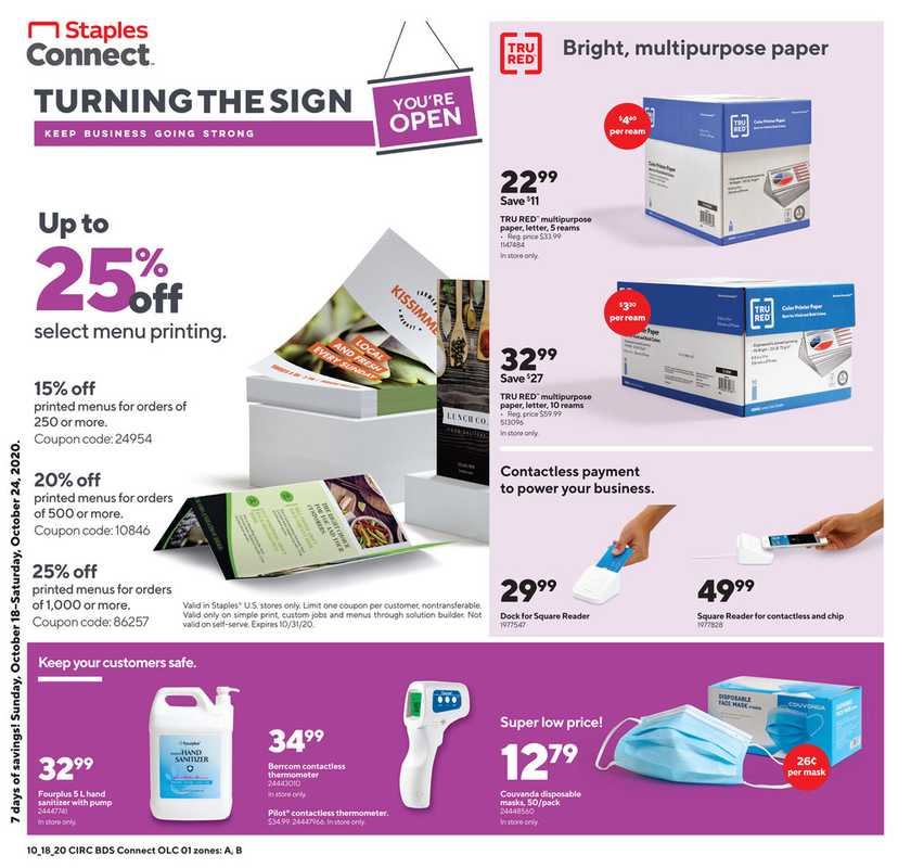 Staples - deals are valid from 10/18/20 to 10/24/20 - page 1.